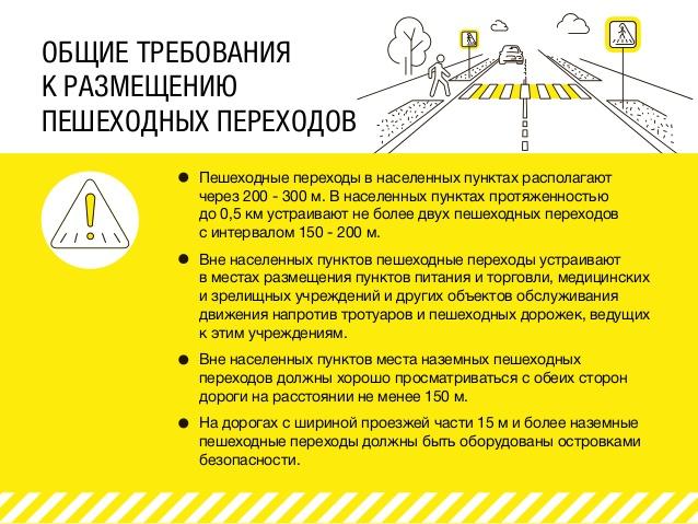 Общие требования к размещению пешеходных переходов