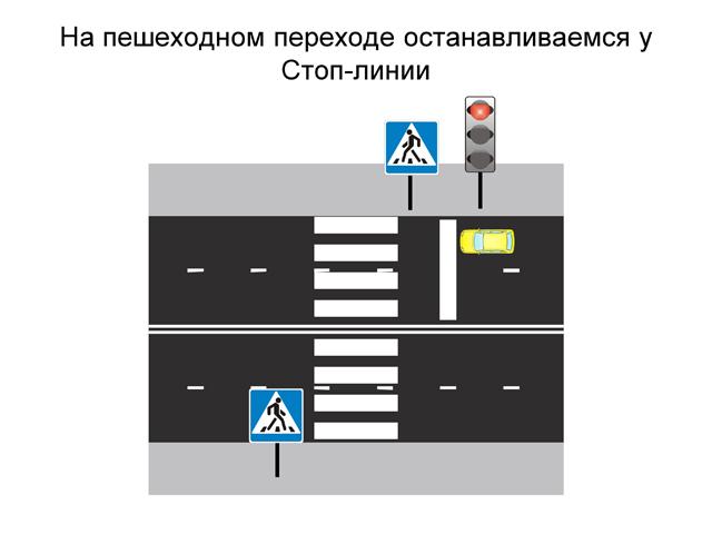 Где остановиться у пешеходного перехода