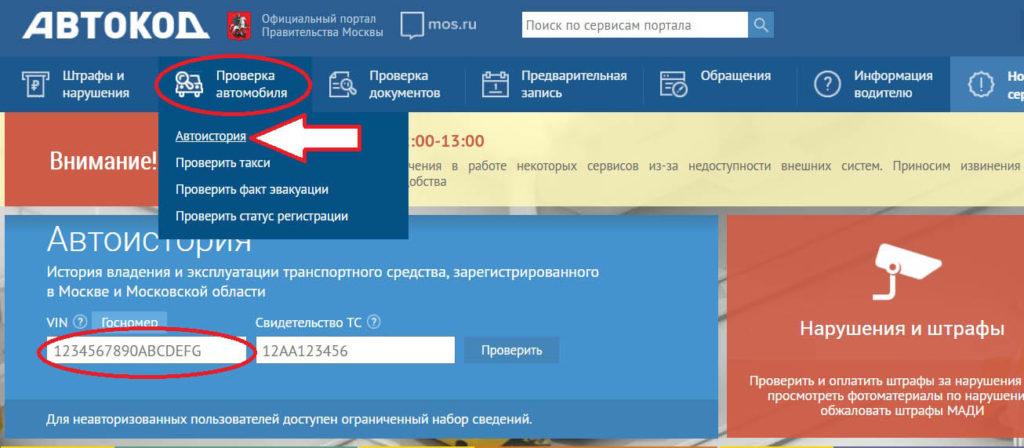 Один из веб-сервисов проверки авто