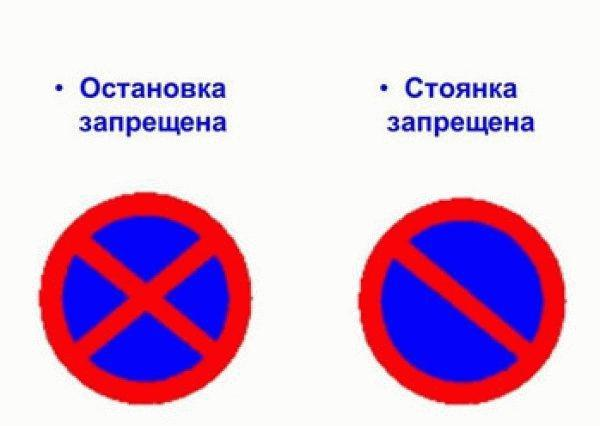 Различия знаков запрета остановки и стоянки