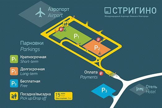 Расположение парковок вблизи «Стригино»