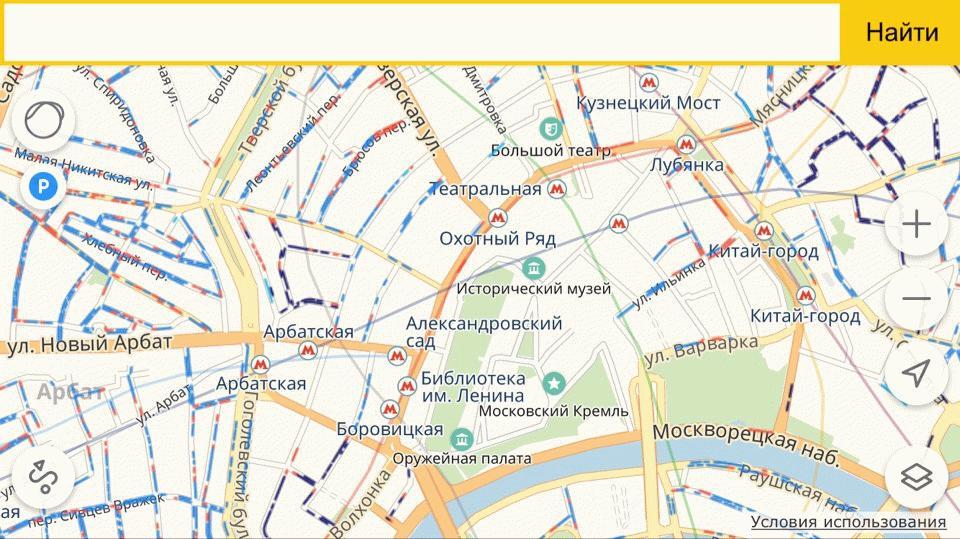 Карта парковок у Кремля