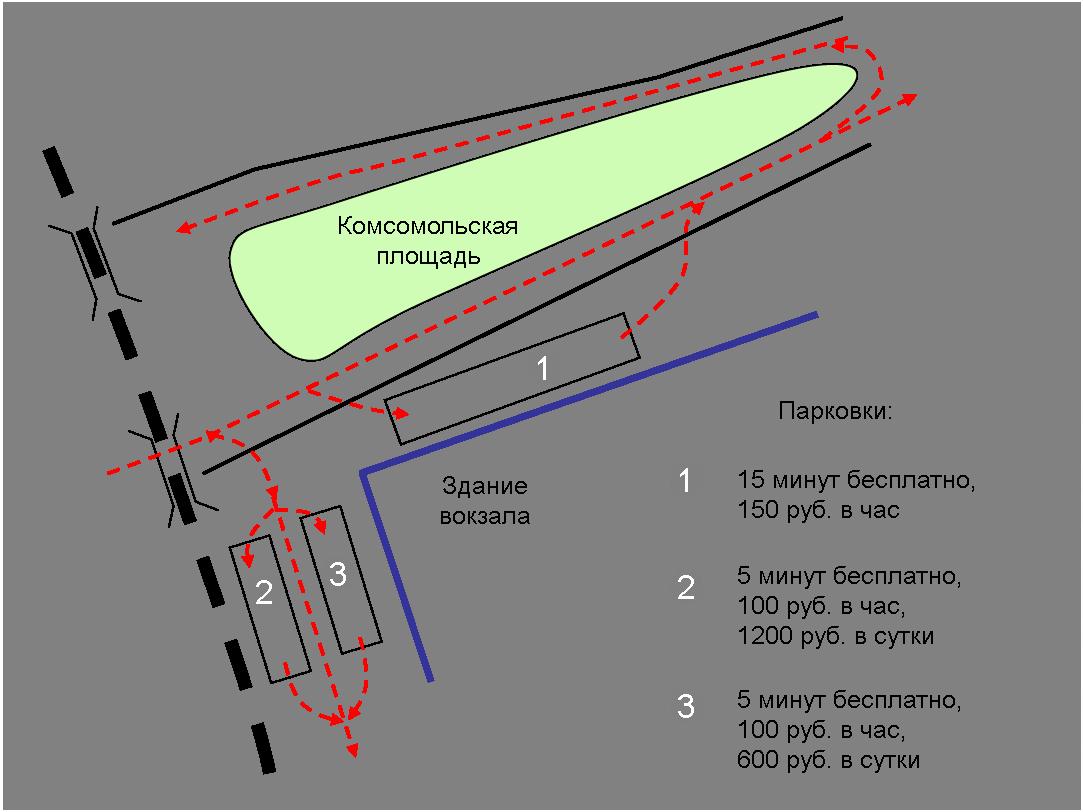 Схема и стоимость парковки у Казанского вокзала