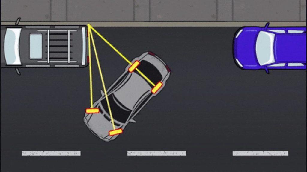 Парковка автомобиля у тротуара