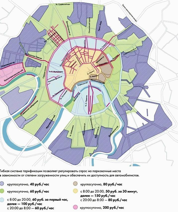 Стоимость паркинга определяется его расположением и удаленностью от центра города