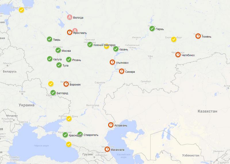 Карта расположения парковок