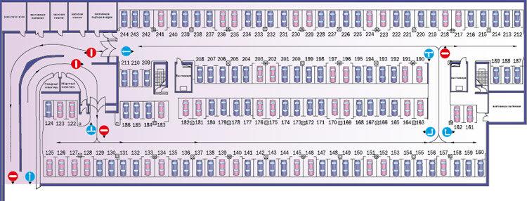 Схема подземного паркинга одного из жилых комплексов от группы ПИК