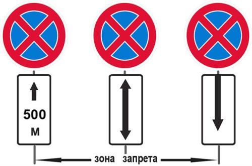 Знак запрета остановки в разных интерпретациях