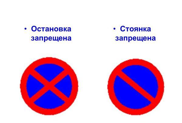 Различия знаков «Остановка запрещена» и «Стоянка запрещена»